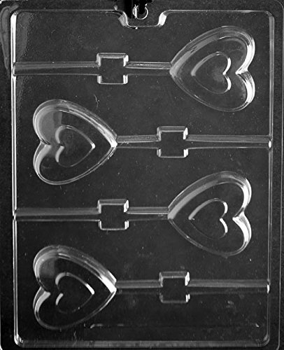 Grandmama's Goodies V178 Heart in Heart Valentine Lollipop Chocolate Candy Soap Mold with Exclusive Molding Instructions