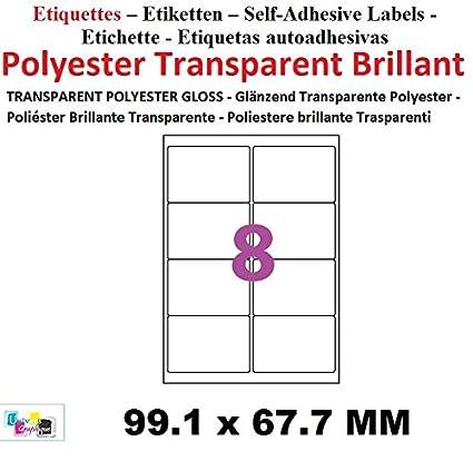 Lots de 15 láminas de etiquetas autoadhesivas transparentes ...