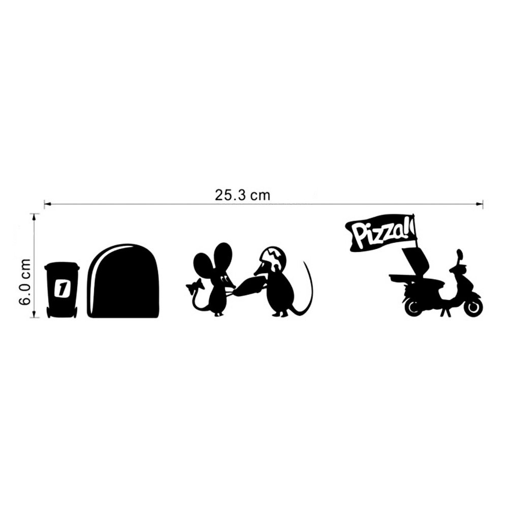 Wall Sticker Mouse Hole With Pizza Delivery Black Amazonco