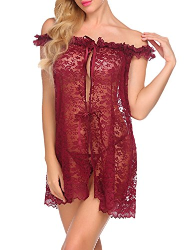 Floral Ruffled Chemise - Avidlove Women Lingerie Lace Babydoll Mesh Robe Sexy Nightie Dark Red S
