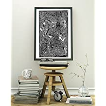 "Led Zeppelin Stairway to Heaven Robert Plant, Jimmy Page, John Bonham, John Paul Jones Poster - Inspired Letterpress Art Print Poster - Detailed Pen and Ink Original Hand Drawing 11""x17"""