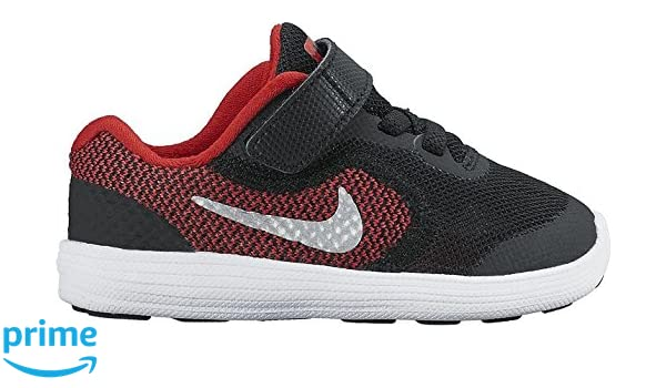 detailed look 92fad a322a Amazon.com   NIKE Boys  Revolution 3 Running Shoe (TDV), University Red Metallic  Silver Black, 2 M US Infant   Sneakers