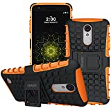 For LG Rebel 3 LTE Case, LG Aristo Case, LG Phoenix 3 Case, LG Fortune Case, LG Risio 2 Case, LG Rebel 2 LTE Case, LG K8 2017 Case, OEAGO Tough Rugged Dual Layer Phone Case with Kickstand (Orange)