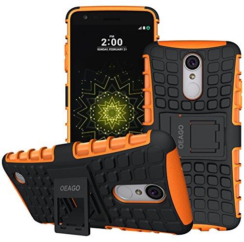 LG Aristo 3/LG Aristo 2/LG Tribute Empire/K8S/Tribute Dynasty/Phoenix 4/Zone 4/Rebel 4 LTE/K8+ Plus/Risio 3/Phoenix 3/Fortune 2/Rebel 3 Phone Case,OEAGO Tough Rugged Dual Layer Case Kickstand, Orange