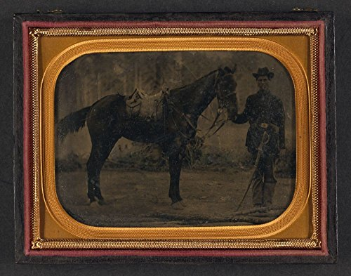 1861 Photo Unidentified soldier in Union uniform with cavalry saber standing next to horse fitted with McClellan saddle (Mcclellan Cavalry Saddle)