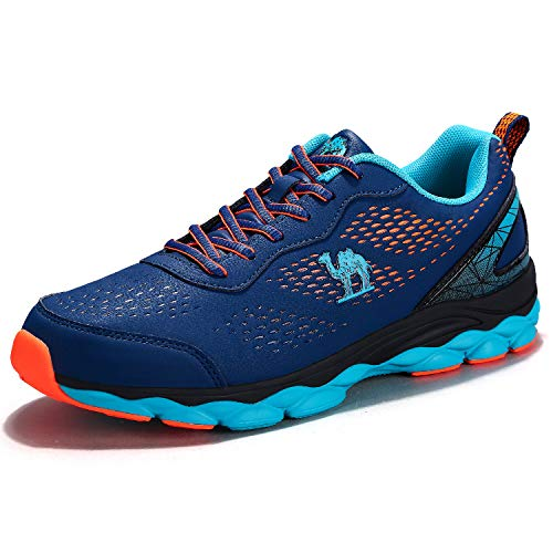 CAMEL CROWN Men's Trail Running Shoes Fashion Sneakers Lightweight for Athletic Tennis Gym Walking Blue-Orange Size 9.5
