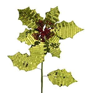 """Pack of 12 Green Reversible Fabric Artificial Poinsettia Flower Christmas Picks 26"""" 46"""
