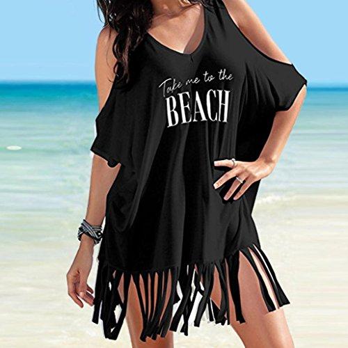 Beach de Femme Letters Bikini Casual Plage Bain Guesspower Chic Ete Mini Imprimer de Maillots Dress Robe Noir Soire Robe UPS Tassel Boheme Baggy Cover 1nanqd