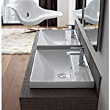 Scarabeo 3004-One Hole ML Square Ceramic Self Rimming/Wall Mounted Bathroom Sink, White