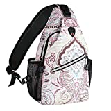 MOSISO Rope Sling Backpack (Up to 13 Inch), Multipurpose Crossbody Chest Shoulder Outdoor Travel Hiking Daypack with Printed Pattern, National Style