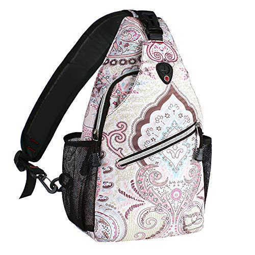 (MOSISO Rope Sling Backpack (Up to 13 Inch), Multipurpose Crossbody Chest Shoulder Outdoor Travel Hiking Daypack with Printed Pattern, National Style)