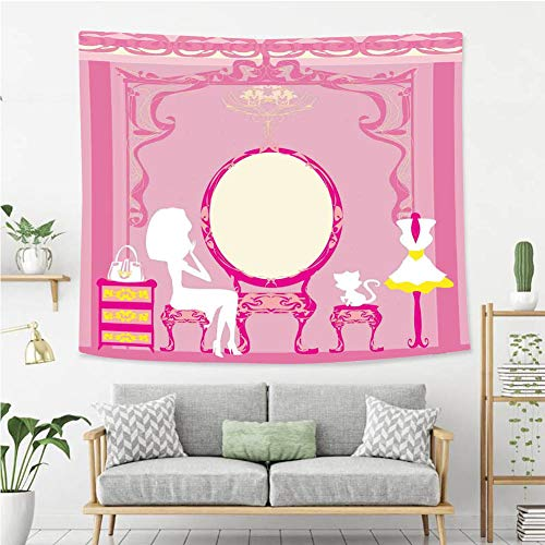 BEIVIVI Colorful Art Design Tapestry Girls Lady Sitting in Front of French Cosmetic Make Up Mirror Furniture Dressy Design Pink Yellow Polyester Fabric Tapestries for Bedroom Living Room Dorm