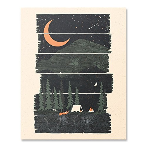 Wilderness Camping Lover Art Print Hiking Trekking Kayaking Mountains Outdoor Adventure Nature Inspiration Wall Art Shooting Stars Summer Night Sky Forest Tent Fire Home Decor 8 x 10 Inches