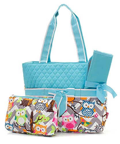 Owl Print Fashion Design Quilted 3-Piece Diaper Bag Handbag W/Baby Changing Pad & Cosmetic Pouch Color: Aqua (Blue) (Cosmetic Belvah Bag)