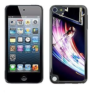 Caucho caso de Shell duro de la cubierta de accesorios de protección BY RAYDREAMMM - Apple iPod Touch 5 - Baloncesto Remolino colorido