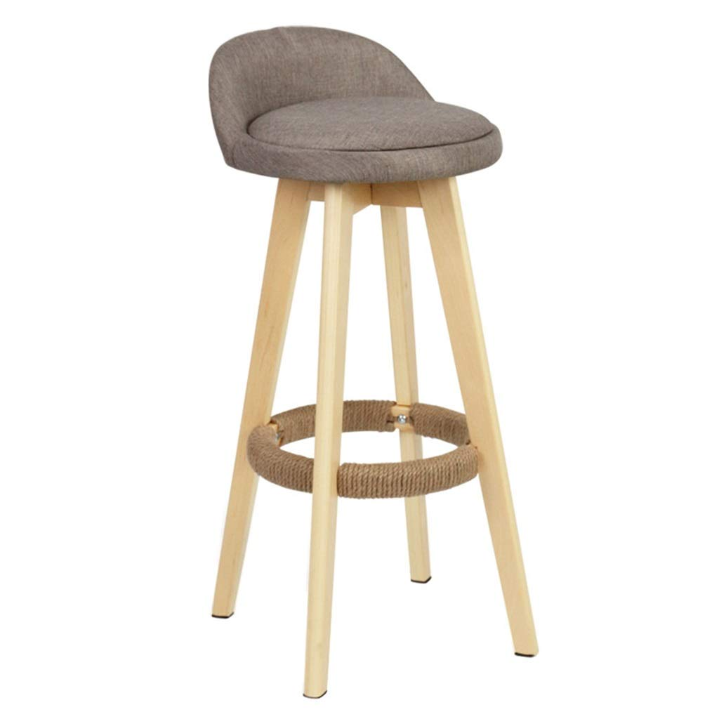 2 Swivel Height Bar Stools Dining Counter Breakfast Pub Home Cafe Kitchen Footrest Wooden Legs Textile Linen Upholstered Modern Chairs