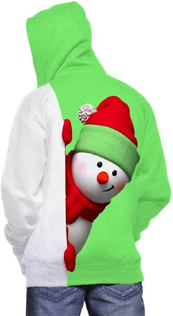 Cromoncent Mens Casual Snowmen Cool Long Plus Size Warm Hooded Sweatshirt Print Loose Christmas