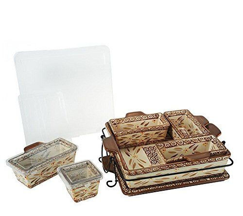 Temp-tations Old World 8-Piece Square Oven to Table Set (Old World Brown) by Temp-tations
