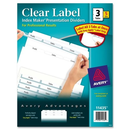 Wholesale CASE of 10 - Avery Prepunched Index Maker Dividers w/ Tabs-Index Maker, Laser, Punched, 3-Tabs, 5 ST/PK, White