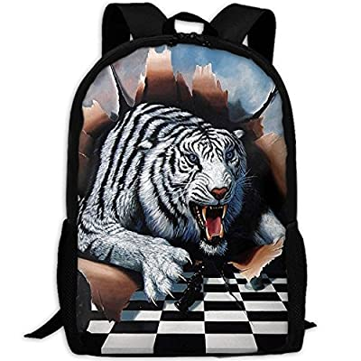 3D Tigers And Chess Pattern Unisex Backpack Lightweight Laptop Bags Shoulder Bag School Bookbag Daypacks