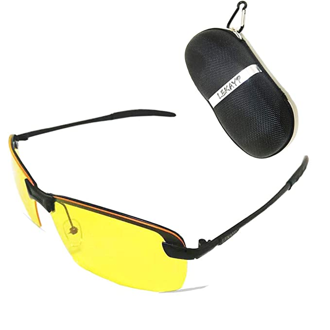 65598ea00a Image Unavailable. Image not available for. Color  Tint HD Night Vision  Glasses for Driving Polarized Anti-Glare Yellow Lens ...