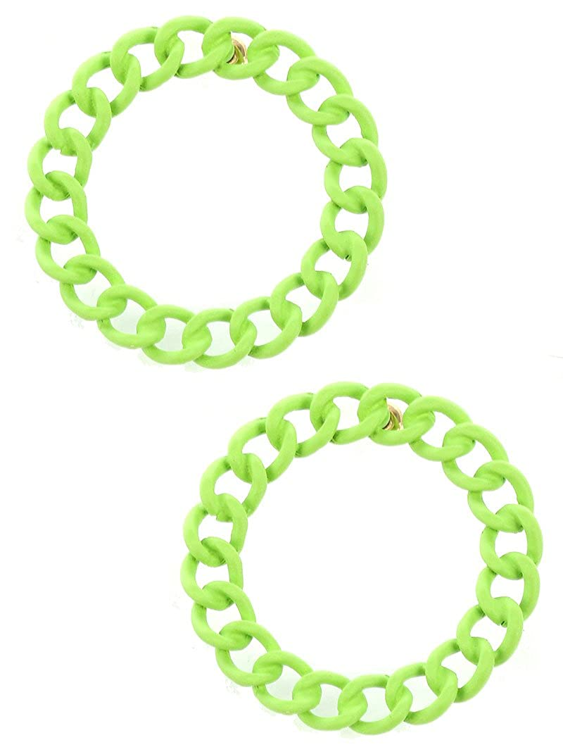 Destinees green COLORED METAL LARGE CHAIN RING EARRING
