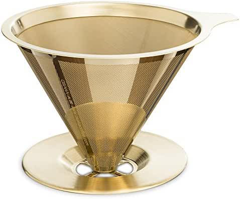 Osaka Titanium Coated Pour Over Cone Dripper, Reusable Stainless Steel Coffee Filter with Cup Stand