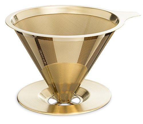 Osaka Titanium Coated Pour Over Coffee Dripper with Double Layered Filter,'Patent' Paperless and Reusable Cone Shaped Filter'Himeji-jo'