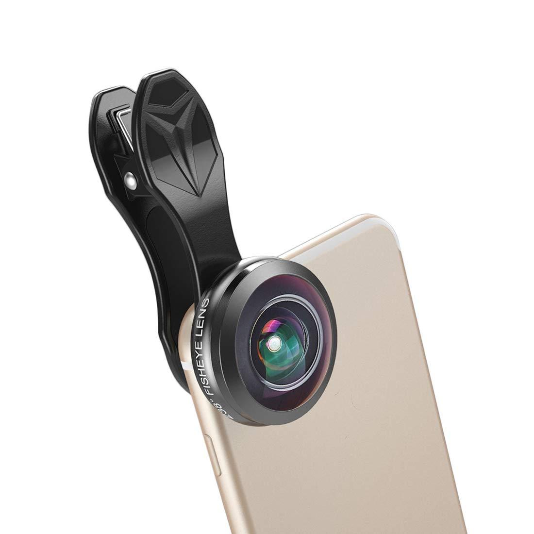 Kathleen Chance Smartphones Phone Camera Lens 230° Super Fisheye Lens HD Optic Glass Lens Compatible iPhone xs/8/7 Samsung Sony LG iPad and Most