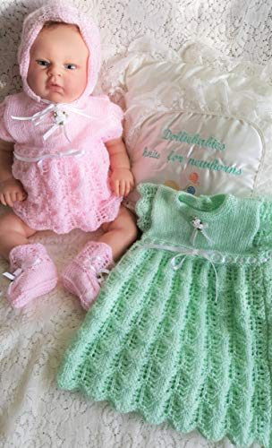 DollieBabies Knitting Pattern 63 - Baby or Reborn Doll Angel Top and Dress with Integrated Nappy Pants