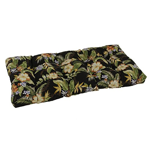 Blazing Needles Squared Patterned Spun Polyester Tufted Loveseat Cushion, 42 x 19 , Skyworks Multicolor
