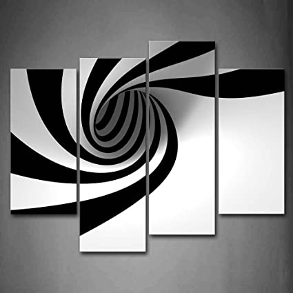 Firstwallart Black And White Grey Black White Hole Wall Art Painting The Picture Print On Canvas Abstract Pictures For Home Decor Decoration Gift