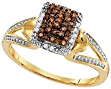levian ring chocolate diamonds - Size - 7 - Solid 10k White and Yellow Two Toned Gold Round Chocolate Brown And White Diamond Engagement Ring OR Fashion Band Channel Set Emerald-Shape Shaped Halo Ring (.18 cttw)