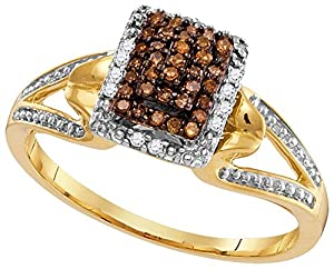 Size - 10 - Solid 10k White and Yellow Two Toned Gold Round Chocolate Brown And White Diamond Engagement Ring OR Fashion Band Channel Set Emerald-Shape Shaped Halo Ring (.18 cttw)