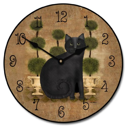 Feline Time Wall Clock, Available in 8 sizes, Most Sizes