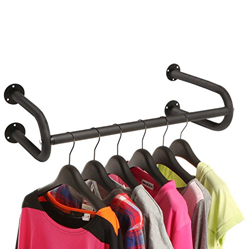 MyGift Modern Black Metal Wall Mounted Bathroom & Bedroom Hanging Towel Bar/Clothing Rod Rack