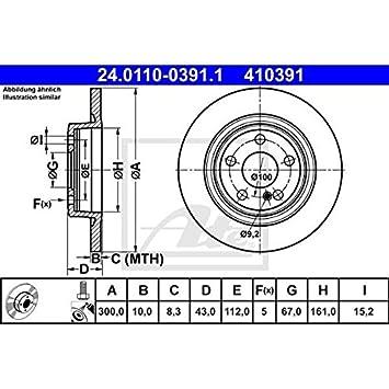 Set of 2 ATE 24.0110-0391.1 Bremsscheiben