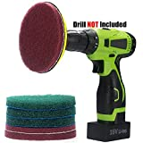 Kichwit 5 Inch Drill Powered Brush Tile Scrubber Scouring Pads Cleaning Kit, 2 Different Stiffness, 5-Inch Disc Pad Holder with 6 Scrubbing Pads, Cleans Large Flat Areas Perfectly
