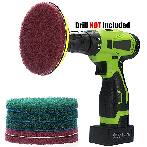 Scrubber Pad Holder (Kichwit 5 Inch Drill Powered Scrubber Scouring Pads Cleaning Kit, 2 Different Stiffness, 5-Inch Disc Pad Holder with 6 Scrubbing Pads, Cleans Large Flat Areas Perfectly)