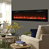 Touchstone 80015 - Sideline Electric Fireplace - 72 Inch Wide - in Wall Recessed - 5 Flame Settings - Realistic 3 Color Flame - 1500/750 Watt Heater - (Black) - Log & Crystal Hearth Options