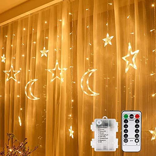 Vegena Led-lichtgordijn, 3,5 m, sterren, maan, led, op batterijen, met afstandsbediening, 8 knipperende modi, voor tuin…