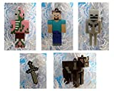 Minecraft Christmas Ornaments Featuring 5 Minecraft Ornaments with Steve, Cow, Skeleton, Pigman and Sword, Ornaments Average 2 1/4 to 2 3/4 Inches Tall, Great for a Mini Christmas Tree