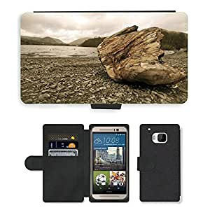 Hot Style Cell Phone Card Slot PU Leather Wallet Case // M00111759 Lake Grasmere Wet Water Mountains // HTC One M9