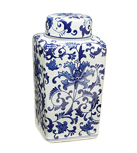 Porcelain Decorative Jars 12 1/4 Inch Tall Blue And White Floral Square Jar With Lid 6.5 X 12.25 X 6.5 Inches Blue (Tall Blue Porcelain)