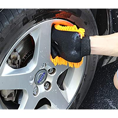 SCRUBIT Car Cleaning Tools Kit Squeegee Car Wash Brush, Wheel Brush, Microfiber wash mitt and Cloth - for Your Next Vehicle wash and Wax with Our 6 PC Cleaning Accessories: Automotive