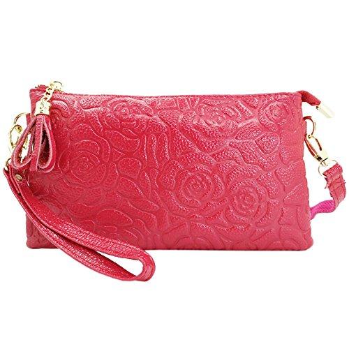 Sanxiner Leather Print Crossbody Purse Wristlet Wallet Clutch Ladies Wrist Bag (Wine Red)