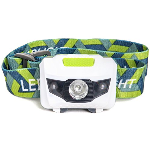 LED Headlamp - Great for Camping, Hiking, Kids, and Dog Walking. One of the Lightest (2.6 oz) Headlight. Water and Shock Resistant with Red Strobe. Duracell Batteries Included