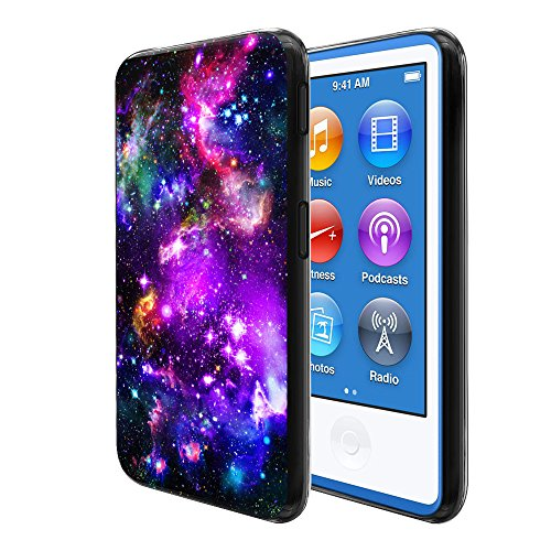 (FINCIBO Case Compatible with Apple iPod Nano 7, Flexible TPU Black Silicone Soft Gel Skin Protector Cover Case for iPod Nano 7 (7th Generation) - Purple Marvel Nebula Galaxy)