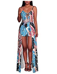 Women's Spaghetti Strap Lace Up Floral Print Maxi Dress Overlay Romper