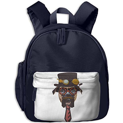 Steampunk Dog School Backpacks For Children Girls Boys Oxford Printed With Front Pocket Navy